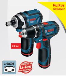 Akum įrankių rinkinys Bosch GSR+GDR 10,8 2x2Ah +L-Boxx